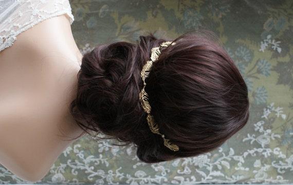 Wedding Headpiece Gold Wreath Bridal Hair Accessory Gold