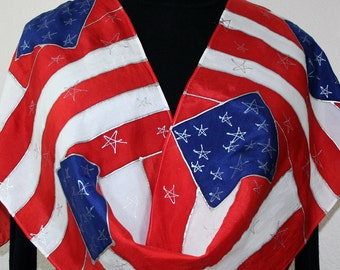 Red White Blue Silk Scarf Hand Painted STARS & STRIPES, Size 11x60. Hand Painted US Flag Scarf. July 4th Gift. Patriotic Gift.