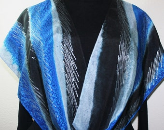Grey Silk Scarf. Black Blue Hand Painted Silk Shawl.  Handmade Silk Scarf WINTER TALE. 11x60. Birthday Gift. Bridesmaid Gift. Gift-Wrapped