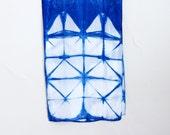 Itajime Shibori Indigo Silk Scarf - Windowpane