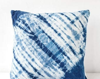 Indigo Diagonal Ripple Shibori Pillow