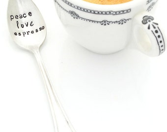 PEACE love ESPRESSO spoon.  Hand Stamped Demitasse Spoon. The ORIGINAL Hand Stamped Vintage Coffee & Espresso Spoons™ by Sycamore Hill