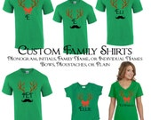 Matching Family Christmas T-shirts - Christmas Pajamas with Reindeer Antlers bows and moustache custom monogram