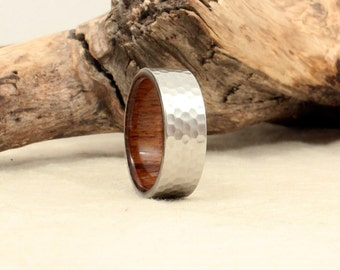 Hammered Cobalt Wooden Ring Lined with USS North Carolina Deck Teak