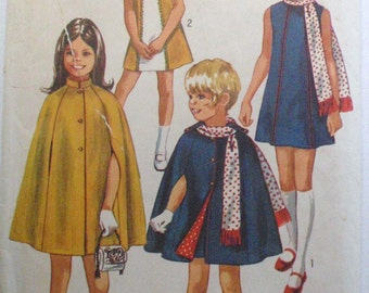 Girl's A-line Dress, Cape and Scarf Sewing Pattern - Simplicity 9247 - Size 10, Breast 28 1/2