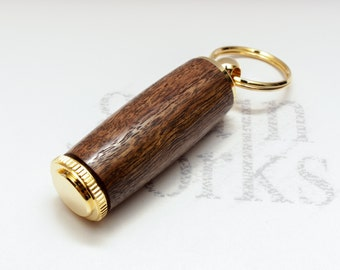 Deluxe Pill Holder Key Chain - Figured Black Walnut Wood with 10kt Gold Accents (Gift Ready)