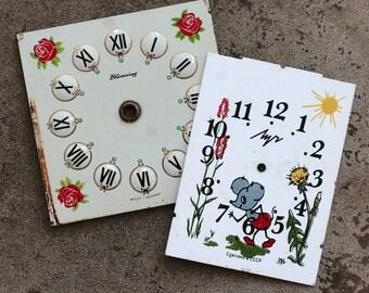 Vintage  Alarm Clock Faces -- metal -- D9