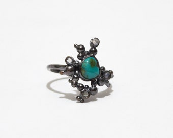 Wanderers Ring - turquoise & rainbow moonstone in black silver - size 6.5