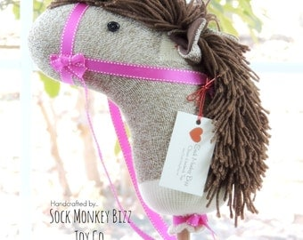 Personalized Toy Cowboy Cowgirl Sock Stick Horse, Hobby Horse, Handmade Children's Ride-On Toy, Gifts from Santa