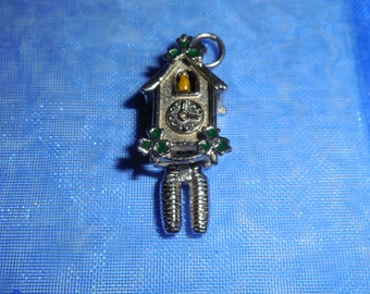 Vintage Sterling Silver Articulated  Enamel Coo Coo Clock Charm Wells