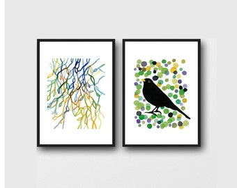 green Art prints Bird & Branches, set of 2 watercolor prints, natural Spring decor