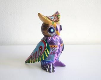 SALE Oaxacan Wood Owl Sculpture