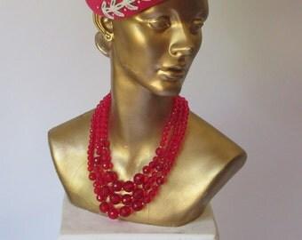 Vintage 1950s Lipstick Pink Felted Hat