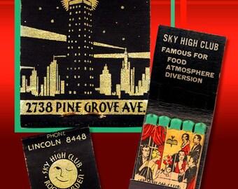 Retro Chicago Matchbook Print Sky High Club Chicago Art Deco Old Chicago Nightclub 1930's Retro Chicago Wall Decor Feature Matchbook Print