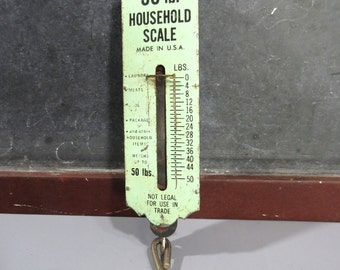 Vintage OT Household Scale, 50 lb., Handi Weigh-All, Light Green, Garden Pot Holder, Food, Laundry, Packages Scale