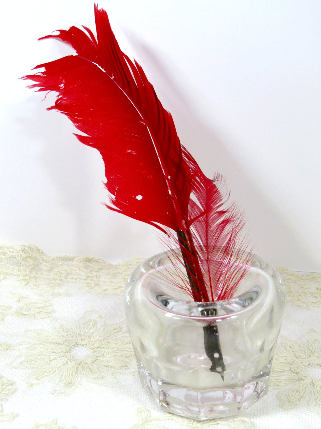 Funnel style inkwell blown glass plus feather dip calligraphy