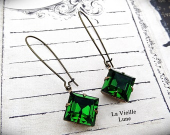 Emerald Crystal Victorian Earrings, Victorian Jewelry, Gothic Jewelry