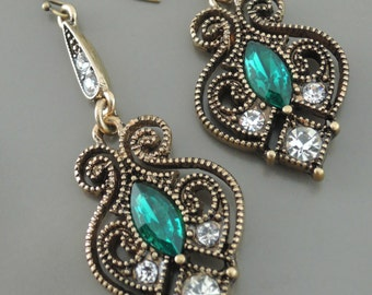 Statement Earrings - Art Nouveau Earrings - Emerald Green Earrings - Boho Antique Gold Crystal Earrings