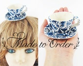 MADE-TO-ORDER ( 1 - 2 Weeks)- Miniature Teacup Hair Slide-Liberty William Morris Blue