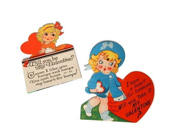 Vintage 1930's Valentines Cards 2 Vintage Valentine's Day Greeting Cards Rosy Cheeked Little Girl Sweethearts Carrington Card Co