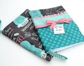 READY to SHIP! Kitchen Dish Tea Towels- Set of 2 in Bonjour Paris Black, Pink, Turquoise