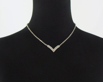 SALE Vintage Rhinestone Choker - 1950s Rhinestone Necklace