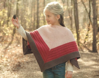 PDF KNITTING PATTERN for girls worsted weight poncho