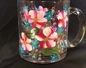 Hand Painted Glass Mug - Spring Blossoms Red, White & Blue
