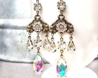 Wedding Statement Earrings - Gypsy Wedding Jewelry - Long Wedding Earrings - Crystal Boho Earrings - Boho Statement Earrings