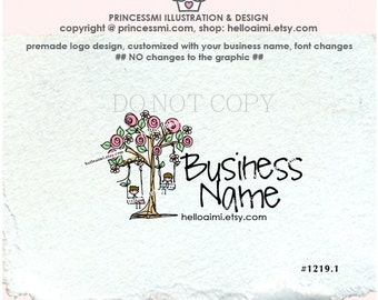 1219-1  kids business logo, boy and girl logo, swing, rose tree logo,  kids boutique logo, children logo design, Premade Logo Design, doodle