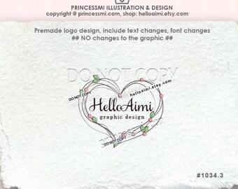 1034-3 Big LOVE heart logo, Custom logo, Premade Logo Design , illustration photography business logo