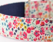 Dainty Coral Floral Dog Collar - Liberty of London