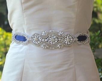 Blue Crystal Bridal Sash, Silver Crystal Sash, Navy Blue and Crystal Wedding Belt, ATHENÈE
