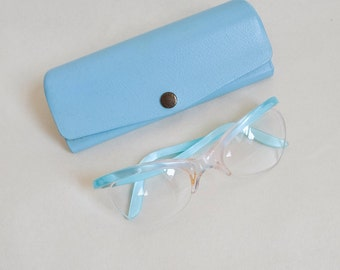 1960s Baby blue cateye spectacles & case / 60s pastel eyeglasses