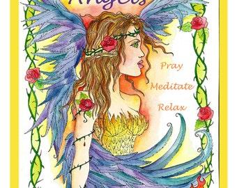 New Coloring Book Guardian Angels Christian Scripture Healing Art