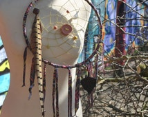 Large Dreamcatcher Recycled Reds Aztec Fabric Milky/Snow Quartz Flower Life Pheasant Feather Clay Leather Button Leaf Sacred Geometry Tribal