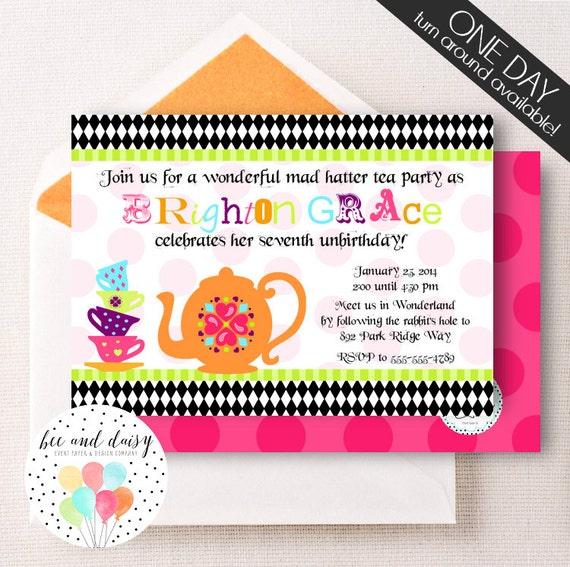 Mad Hatter Tea Party Invitation, Tea Party Birthday Invitation, Tea Party, Girl First Birthday, Girl Birthday, Tea Party Invite,
