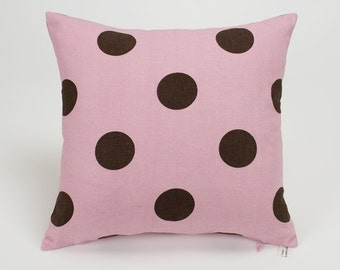 Chocolate Brown Dot on Malt Pink Throw Pillow Cover - 14 inch