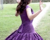 Amazing Adrianna Papell Designer Frills & Purple Cocktail Party Dress Size 6