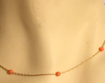 Minimalist  Coral Beaded Gold Chain Necklace Elegent Simplistic Modern Costume Jewelry