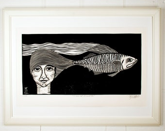 linocut, Fishical emotion, black and white, portrait, fish, contemporary art, black, white, printmaking, modern art, home interior, stripes