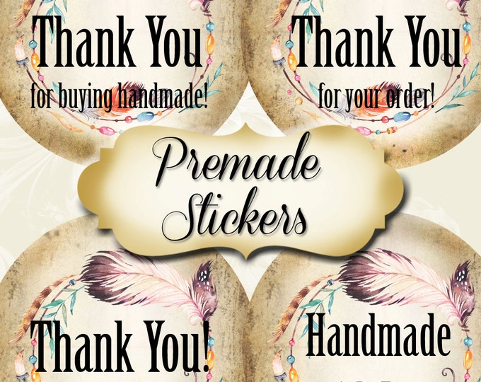 PREMADE•60 Custom 1.5 x 1.5 Round STICKERS•Labels•Tags•Package Labels•Custom Stickers•Custom Labels•BEADED Wreath1 Rustic