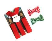 Red Santa Suspenders, Christmas Suspenders, Baby Suspenders, Toddler Suspenders, Childrens Photo Prop, Birthday Outfit, Kids Suspenders