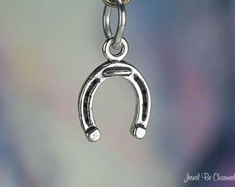 Miniature Horseshoe Charm Sterling Silver Horse Good Luck Charms Tiny