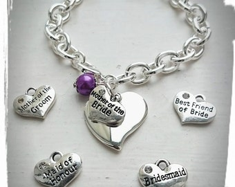 Mother Of The Bride/Groom/Bridesmaid/Maid Of Honour/Flower Girl Personalised Bracelet Perfect Wedding Gift To Remember The Big Day