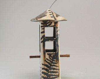 Bird Feeder with Windows-Ceramic Bird Feeder-Fern Leaf Pattern-Natural Stoneware Finish