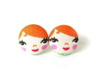 Redhead matryoshka earrings - cute fabric earrings - orange button earrings - tiny ginger doll - girl stud earrings - present for her