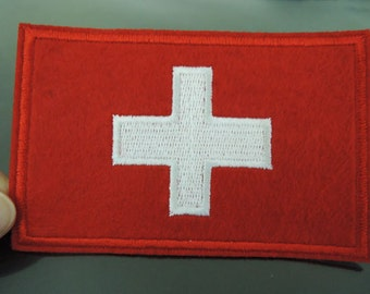 Switzerland Patches - Large Iron on Patch or Sewing on Patch Switzerland Country Flag Patch Embellishments Embroidery Applique