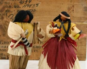 Vintage Cornhusk Dolls, Native American Indians, Colonial Cornhusk Dolls