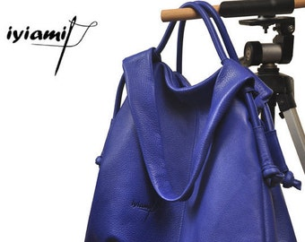 Leather slouchy  Handbag,shoulder bag,everyday bag, named Femme Fatale , in electric blue color MADE TO ORDER